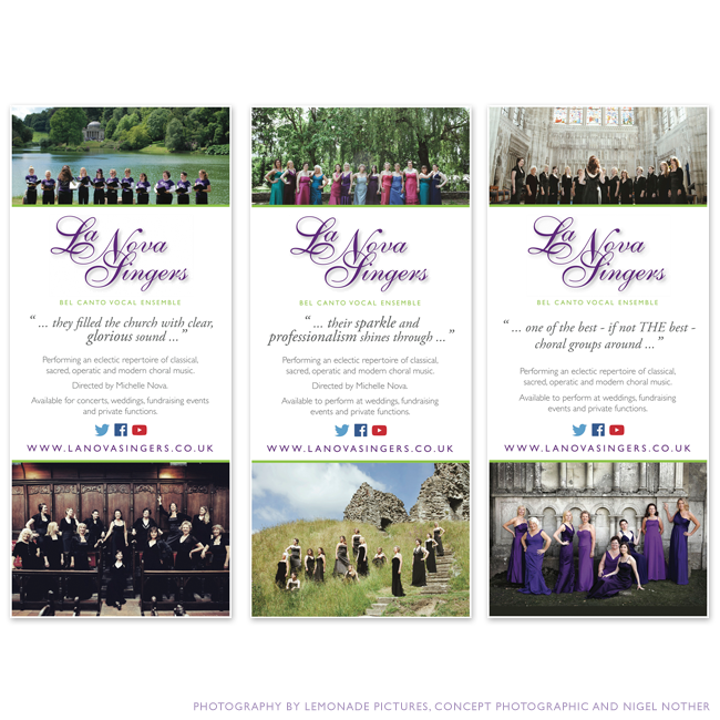 Pop-up banners for local Bournemouth non-profit group La Nova Singers